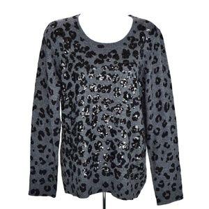 INC Animal Print Long Sleeve Sweater Gray Sz L